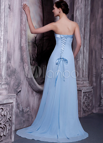 Light Sky Blue Satin Chiffon Strapless Bridesmaid Dress