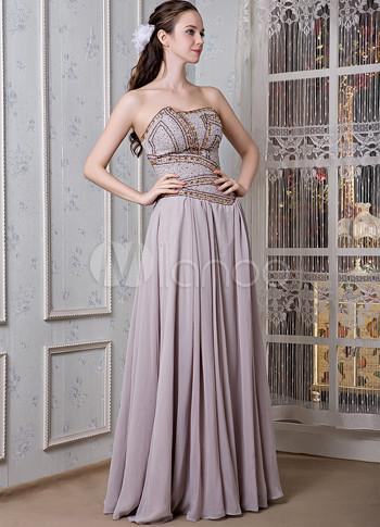 Silver Chiffon Elastic Satin Strapless Beading Prom Dress