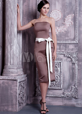 Brown Satin Strapless Tea Length Bridesmaid Dress