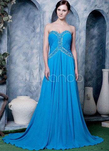 Blue Chiffon Beading Sweet Heart Prom Dress