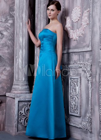 A-line Strapless Blue Satin Bridesmaid Dress