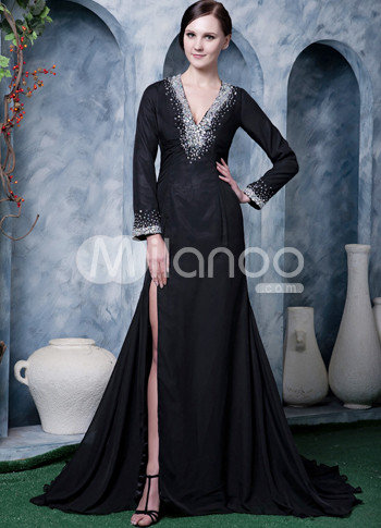 Black Chiffon Beading Long Sleeves V neck Side Splitting Prom Dress