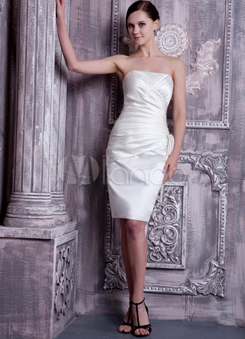 White Satin Strapless Knee Length Bridesmaid Dress