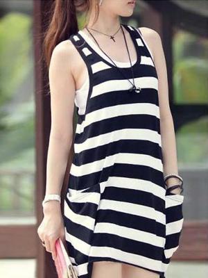 Black White Stripe Cotton Blended Sleeveless Round Collar Women's Summer Dress