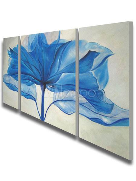 moderne handgemalten 39 blaue blume lgem lde 3 teilige leinwand kunst set. Black Bedroom Furniture Sets. Home Design Ideas
