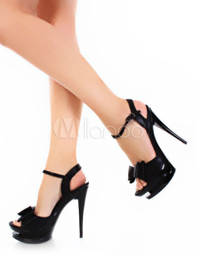 Sandalias de charol negro con plataforma y lazo de tacón de aguja,No.1