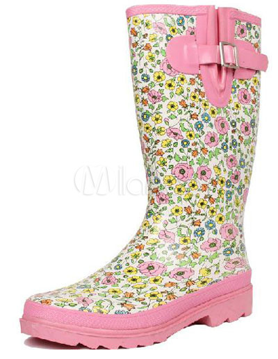 Cute Pink Floral Printing Mid Calf Length Women's Waterproof Rain ...