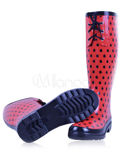 Red Polka Dot Rubber Knee High Front Lace-up Decoration Women's ...