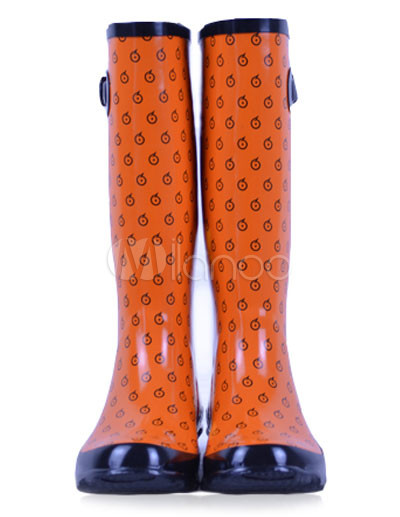 Orange Polka Dot Rubber Knee High Women's Rain Boots - Milanoo.com