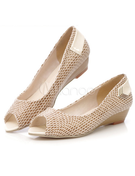 Sexy snake print peep toe pu womens low heel shoes milanoo com