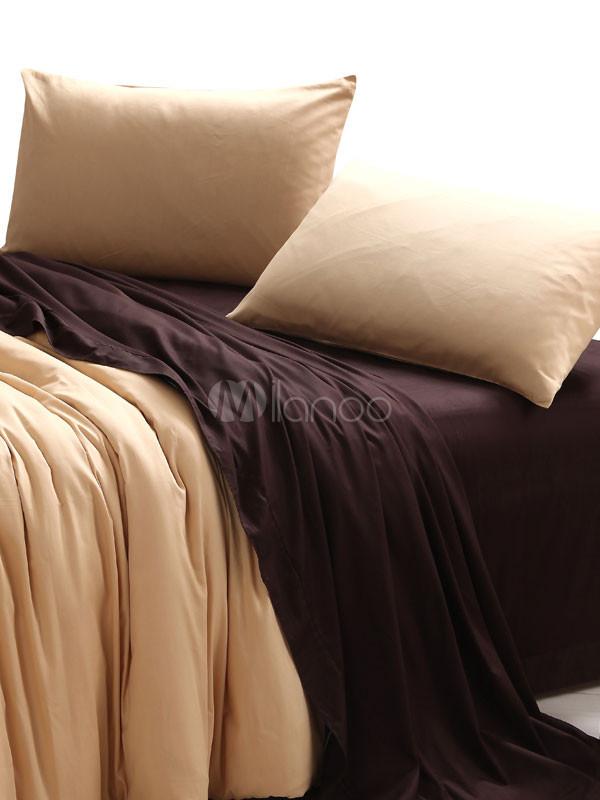 kaki chocolat couleur housse de couette motif de bloc coton literie ensemble. Black Bedroom Furniture Sets. Home Design Ideas