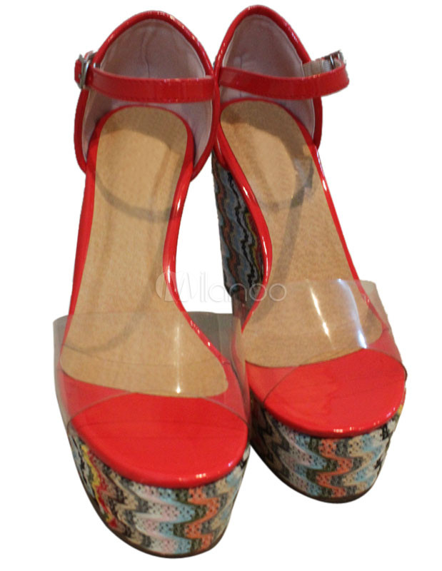 knit pattern buckle antique plastic womens wedge sandals