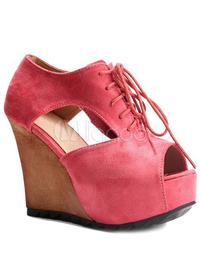 Watermelon Red Nubuck Cut Out Peep Toe Lace Up Women's Wedge Shoes thumbnail