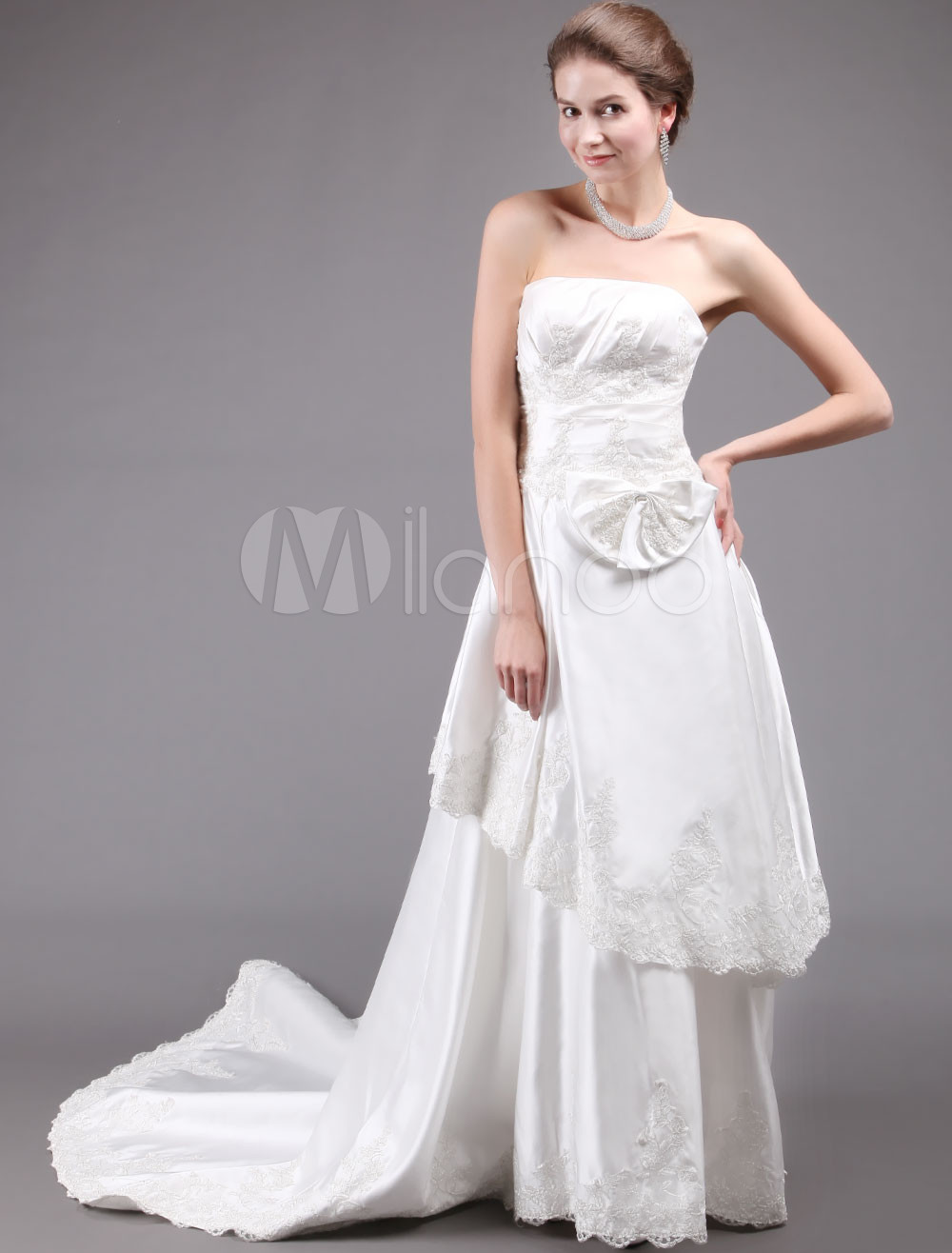Ivory Court Train Strapless Bow Bridal Wedding Dress