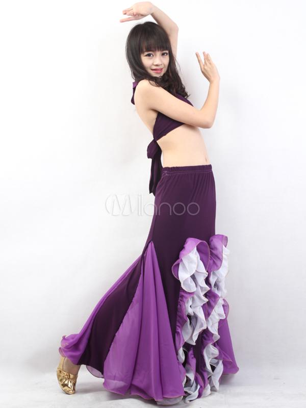 Purple Halter Top Mermaid Trumpet Skirt Cotton Blend Womens Belly Dance Outfit