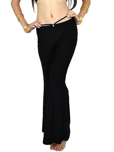 Black Rhinestone Cotton Blend Womens Belly Dance Pants