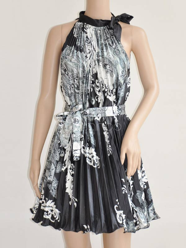 Black White Floral Pleated Sash Womens Summer Dress