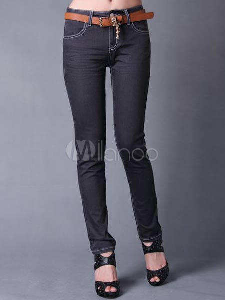 Simple Blue Cotton Womens Skinny Jeans