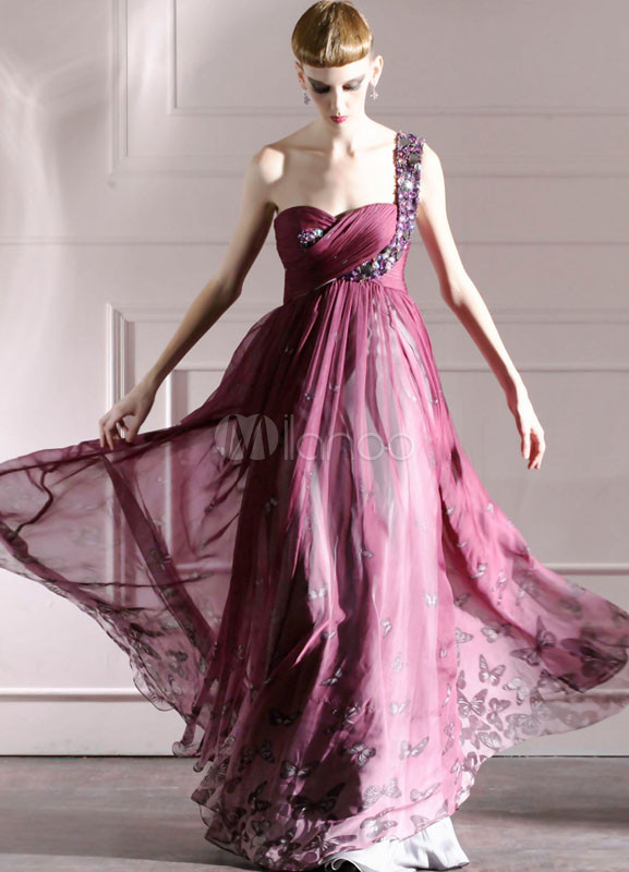 Grape Purple One-Shoulder Rhinestone Chiffon Womens Evening Dress
