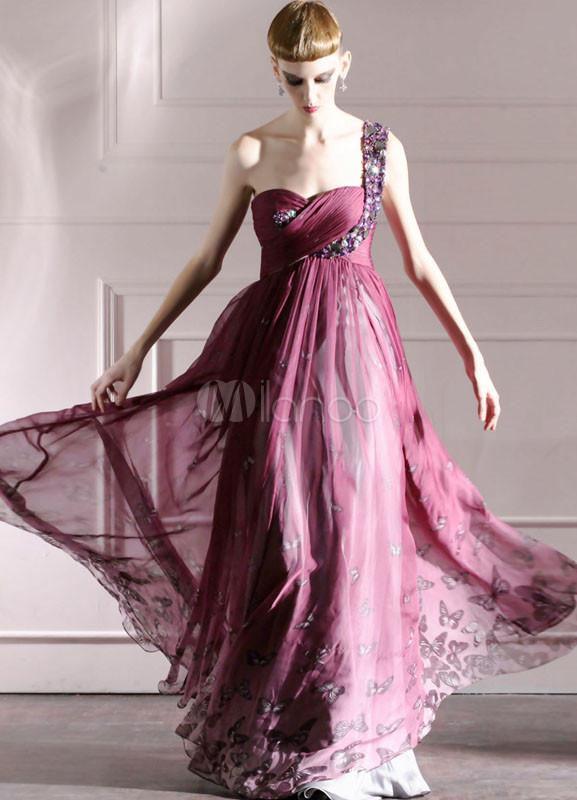 Grape Purple One-Shoulder Rhinestone Chiffon Womens Evening Dress