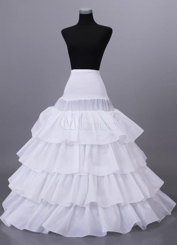 4-Layer White Tulle Lycra Floor Length Wedding Petticoat