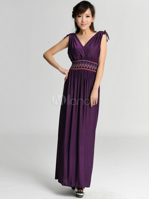 Pure Purple Poplin V-neck Women's Maxi Dress