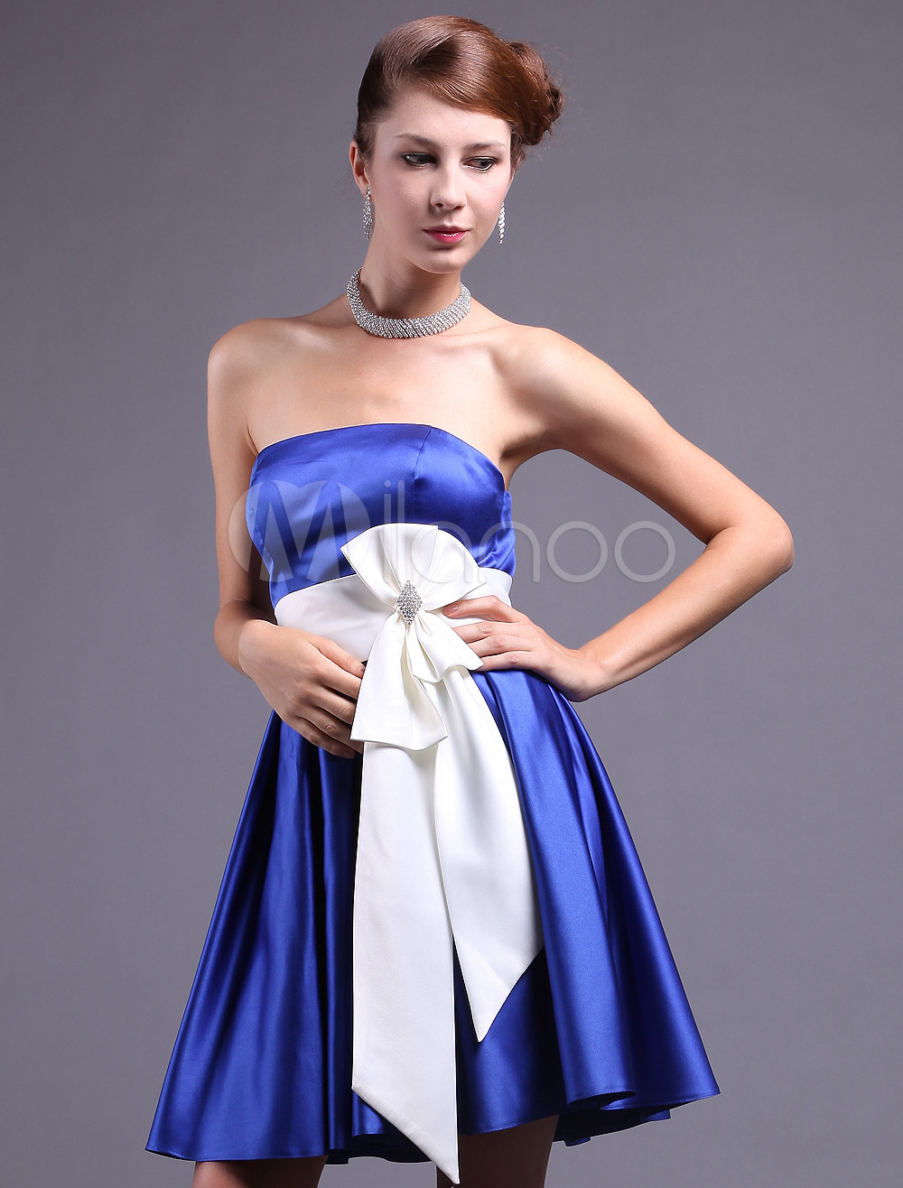 Royal Blue Satin Bow Sash Strapless Prom Dress