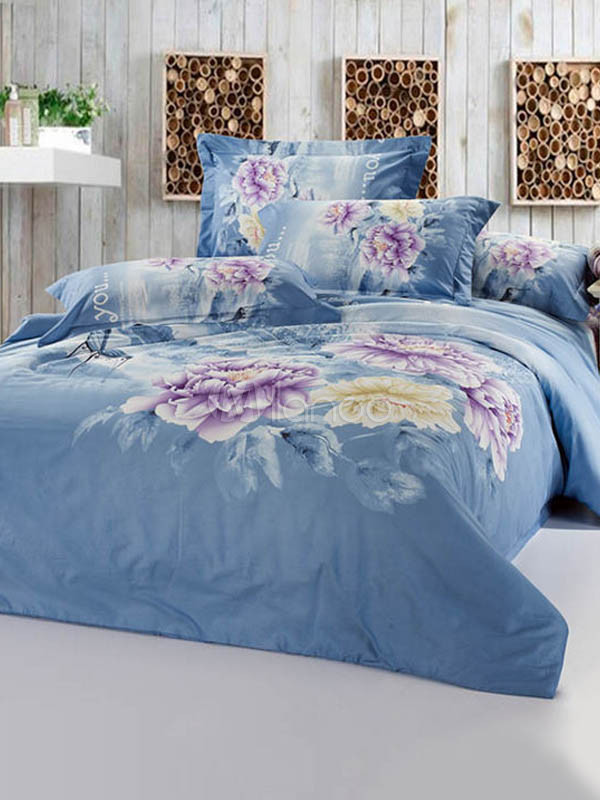 "Buy  ""Classical Floral Print Cotton Bedding Set""  – Daily Deals"