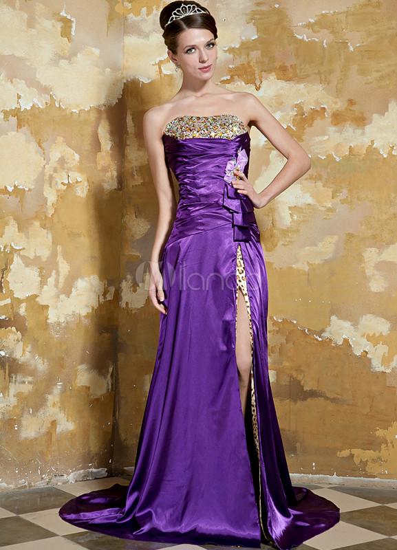 Grape Purple Strapless Side Splitting Elastic Woven Satin Evening Dress