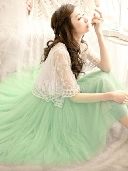 attrayante jupe douce en filet vert for t style romantique sweet pour femme. Black Bedroom Furniture Sets. Home Design Ideas