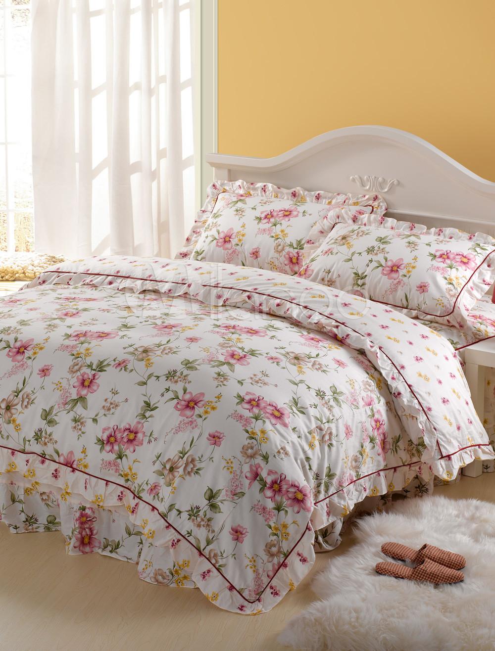 romantische 4 teilig pink floral cotton bettw sche set. Black Bedroom Furniture Sets. Home Design Ideas