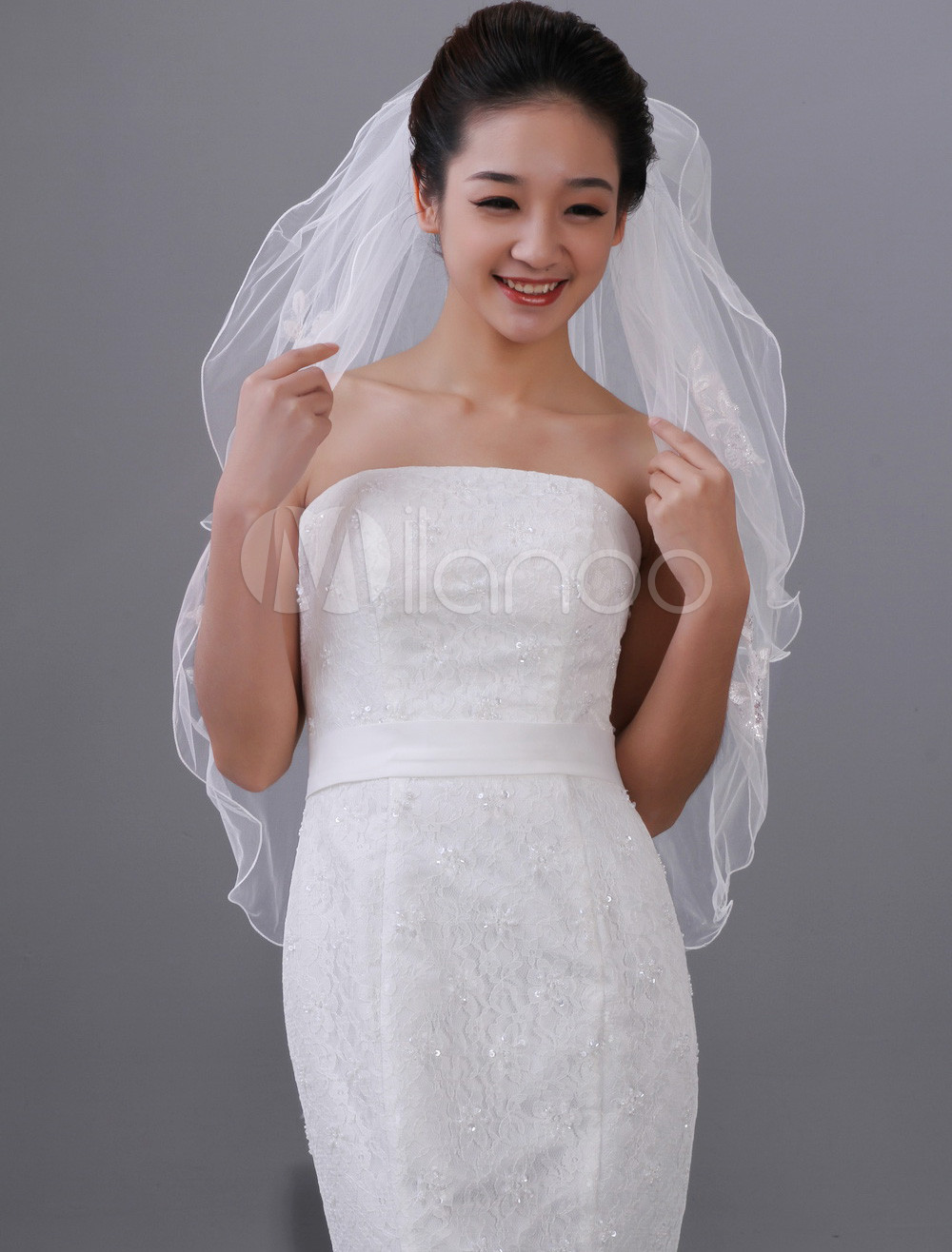 White Two-Tier Beading Tulle Applique Wedding Veil
