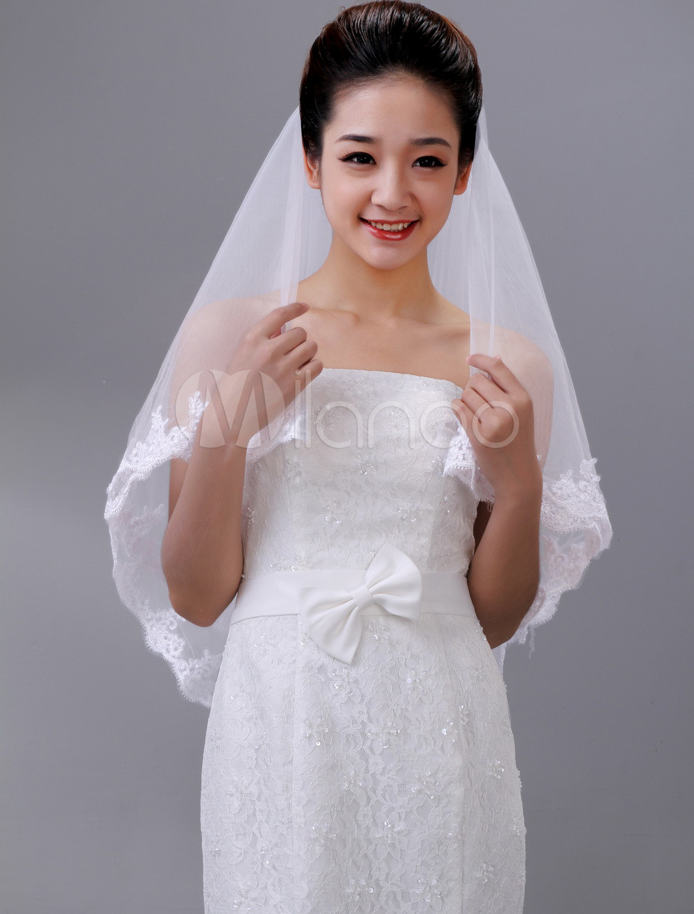 Beautiful White Two-Tier Embroidery Drop Tulle Bridal Wedding Veil
