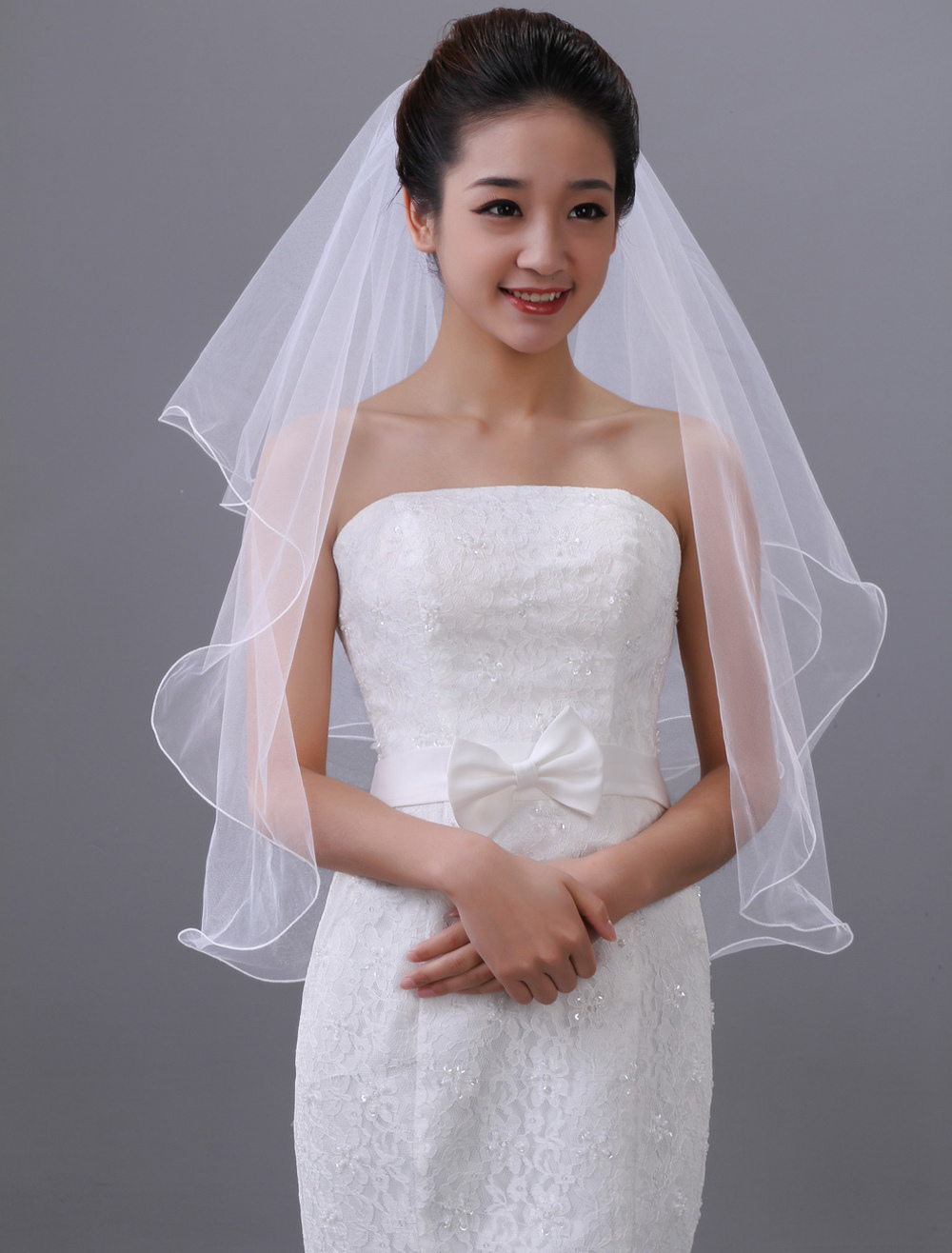 Gorgeous White Two-Tier Tulle Wedding Veil