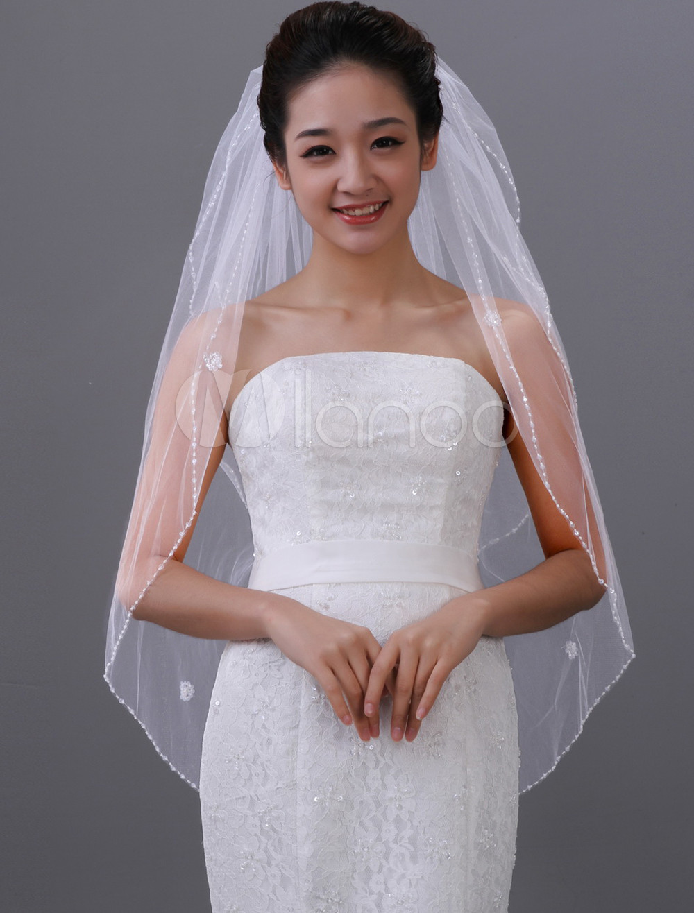 White Oval Two-Tier Beading Tulle Wedding Veil