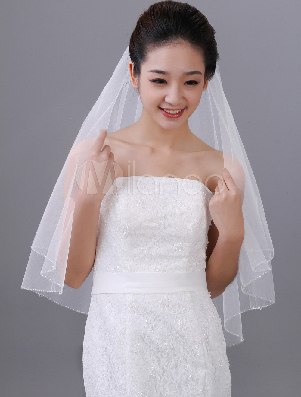 White Two-Tier Beading Tulle Oval Bridal Wedding Veil