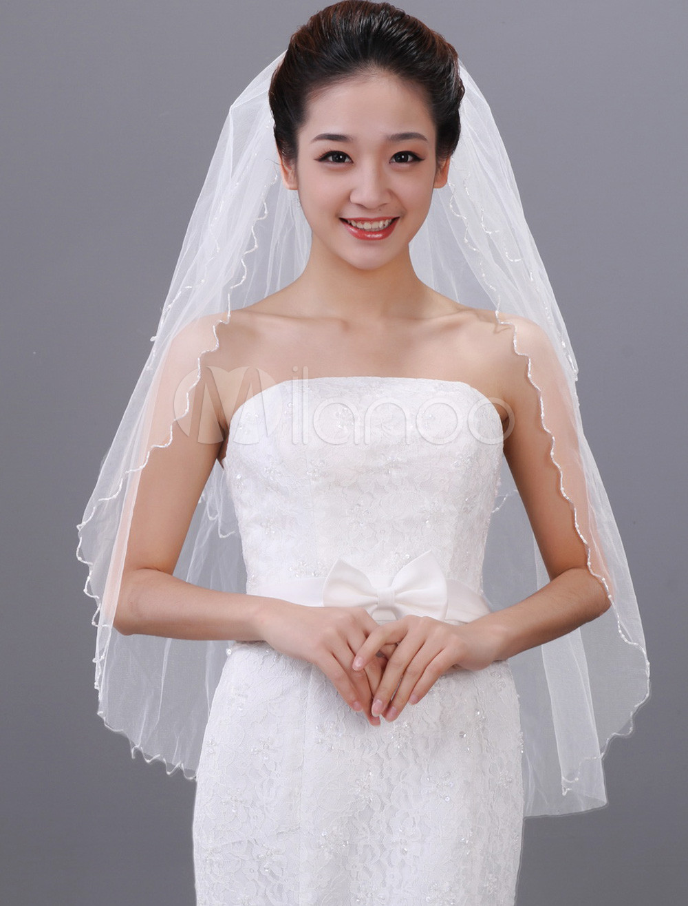 White One-Tier Beading Drop Tulle Bridal Wedding Veil