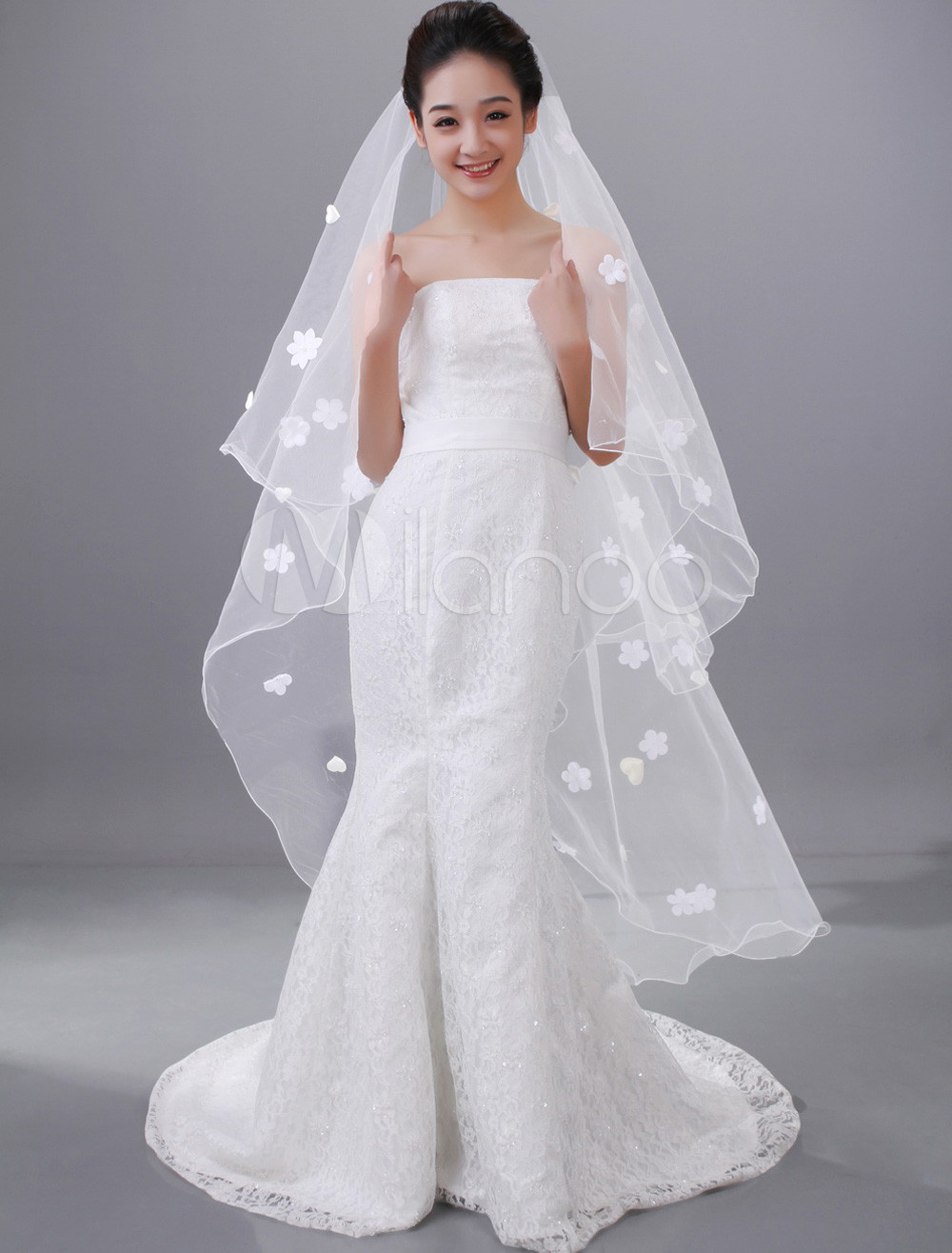 White Two-Tier Waterfall Beading Tulle Applique Wedding Veil