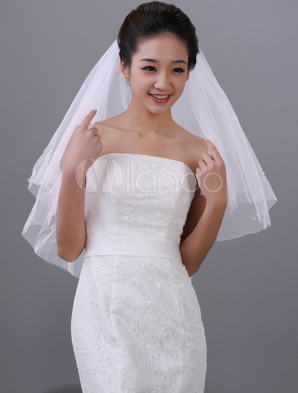 White Waterfall Two-Tier Beading Tulle Bridal Wedding Veil