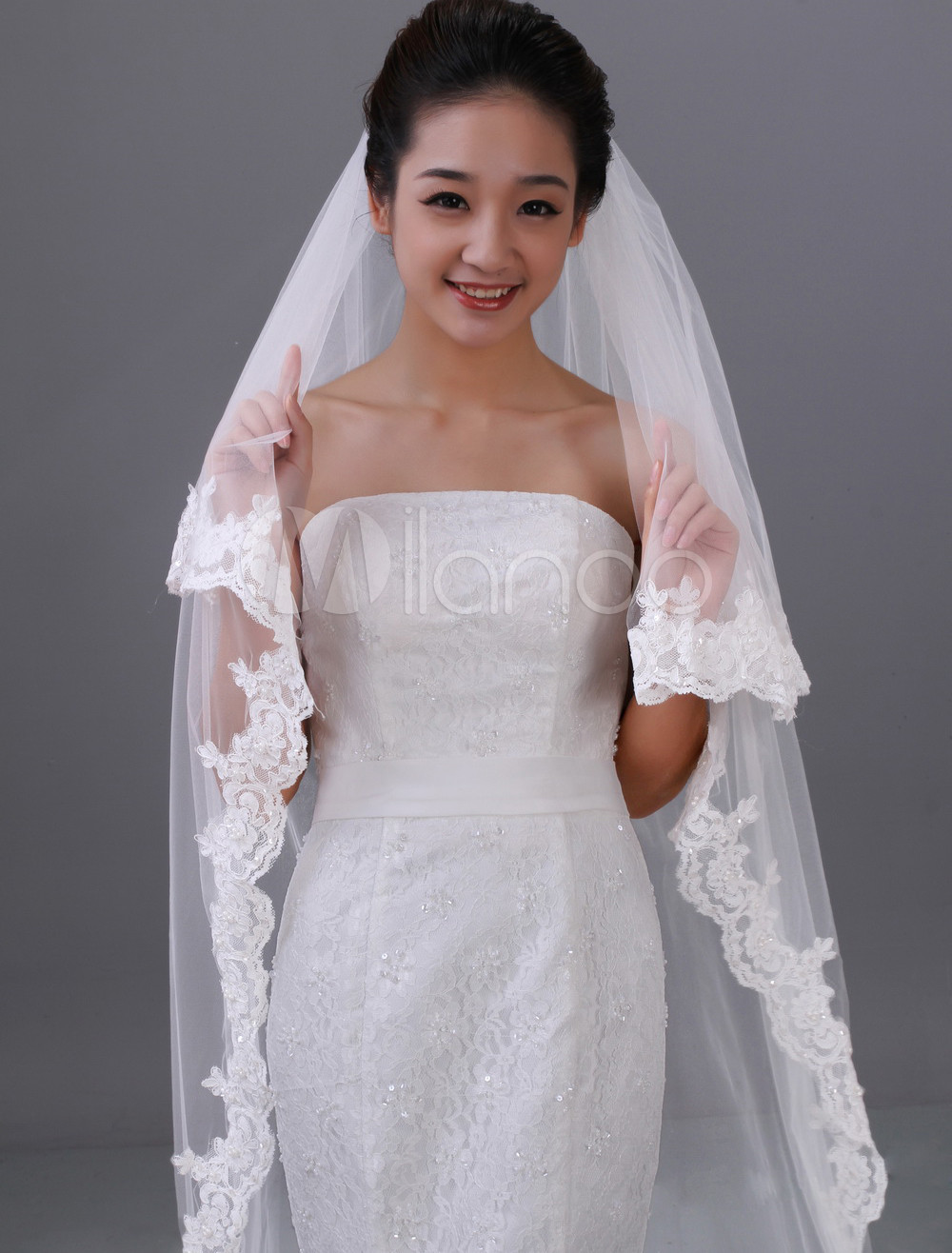 Amazing White Two-Tier Embroidery Tulle Wedding Veil