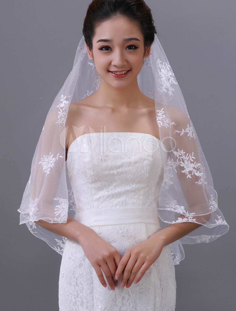 White One-Tier Embroidery Tulle Bridal Wedding Veil
