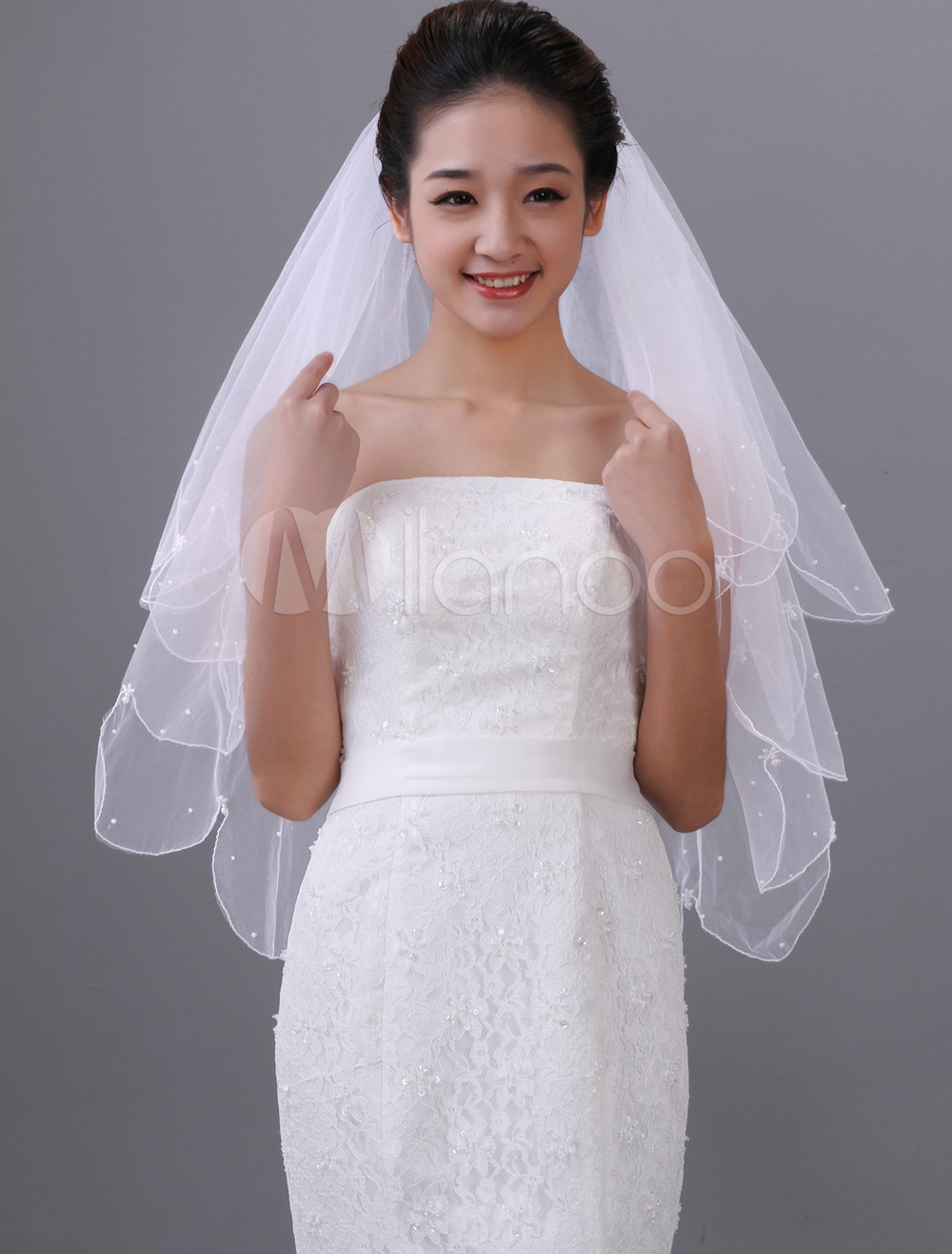White Two-Tier Beading Tulle Wedding Veil