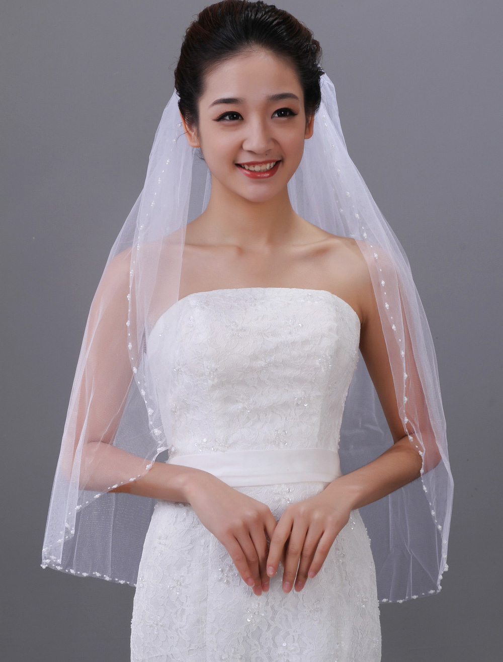 Romantic White Two-Tier Beading Tulle Waterfall Wedding Veil