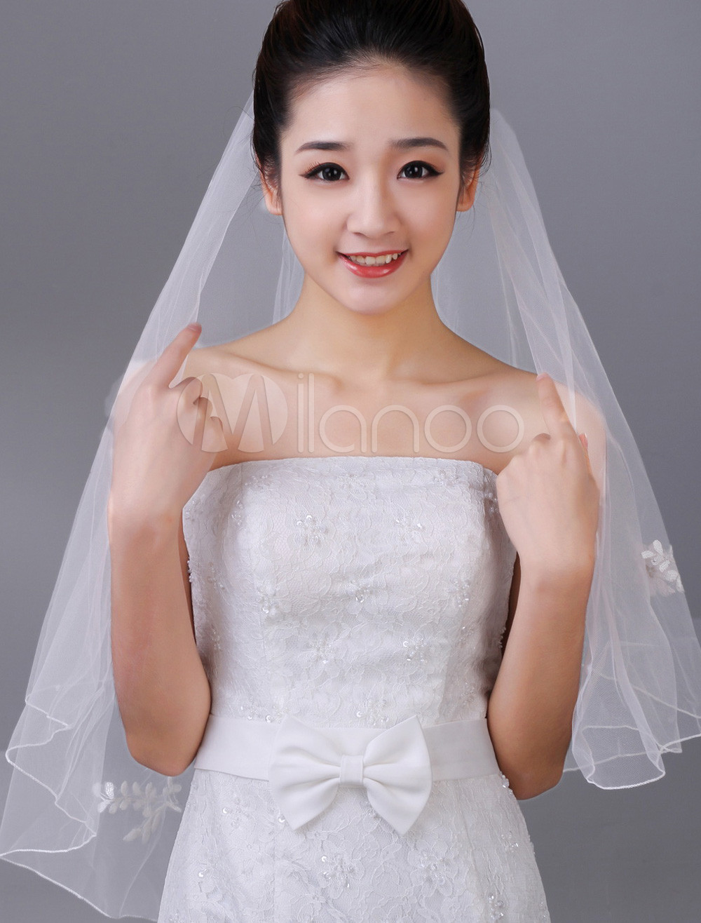 White One-Tier Sequin Tulle Bridal Wedding Veil