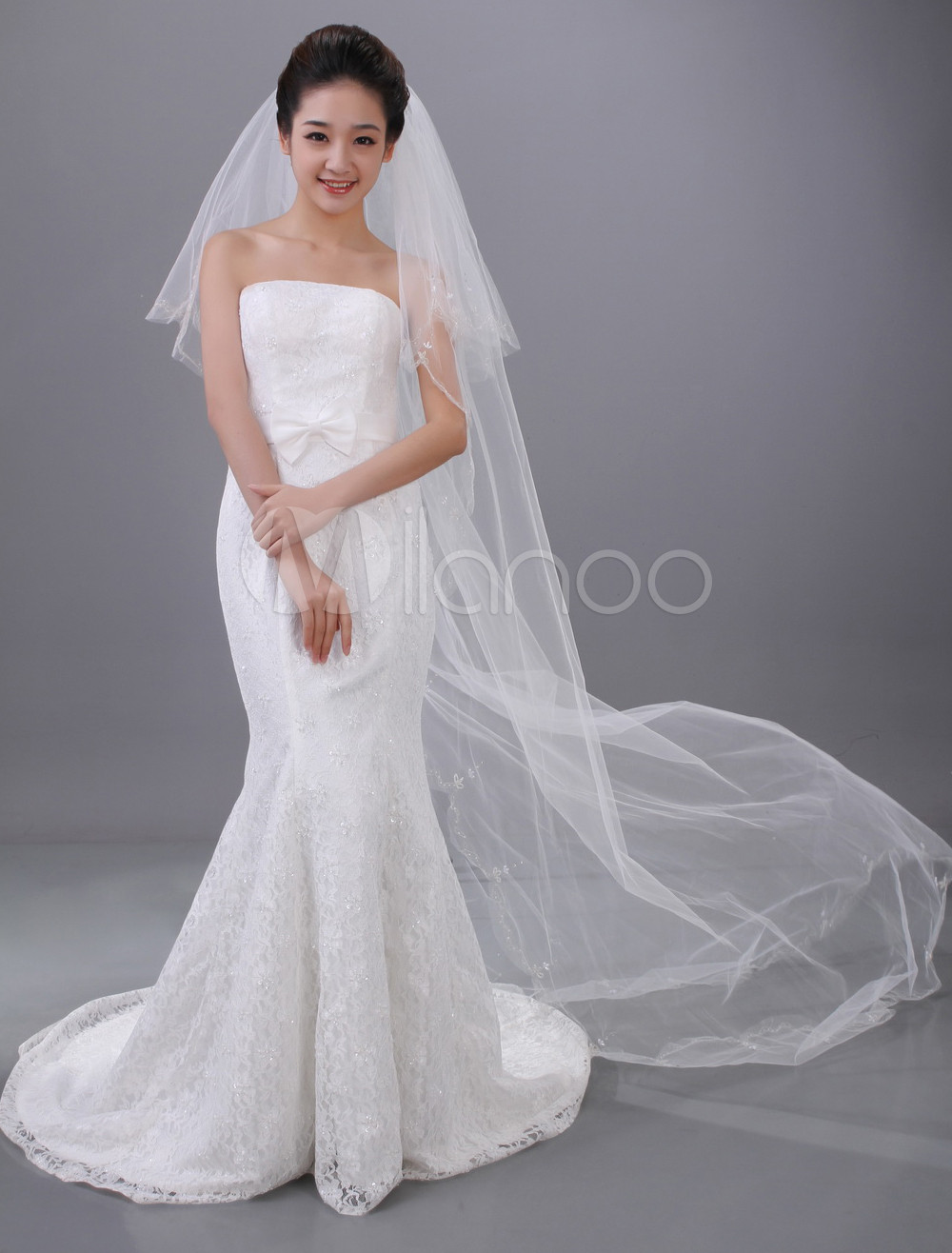 White Waterfall Two-Tier Beading Tulle Wedding Veil