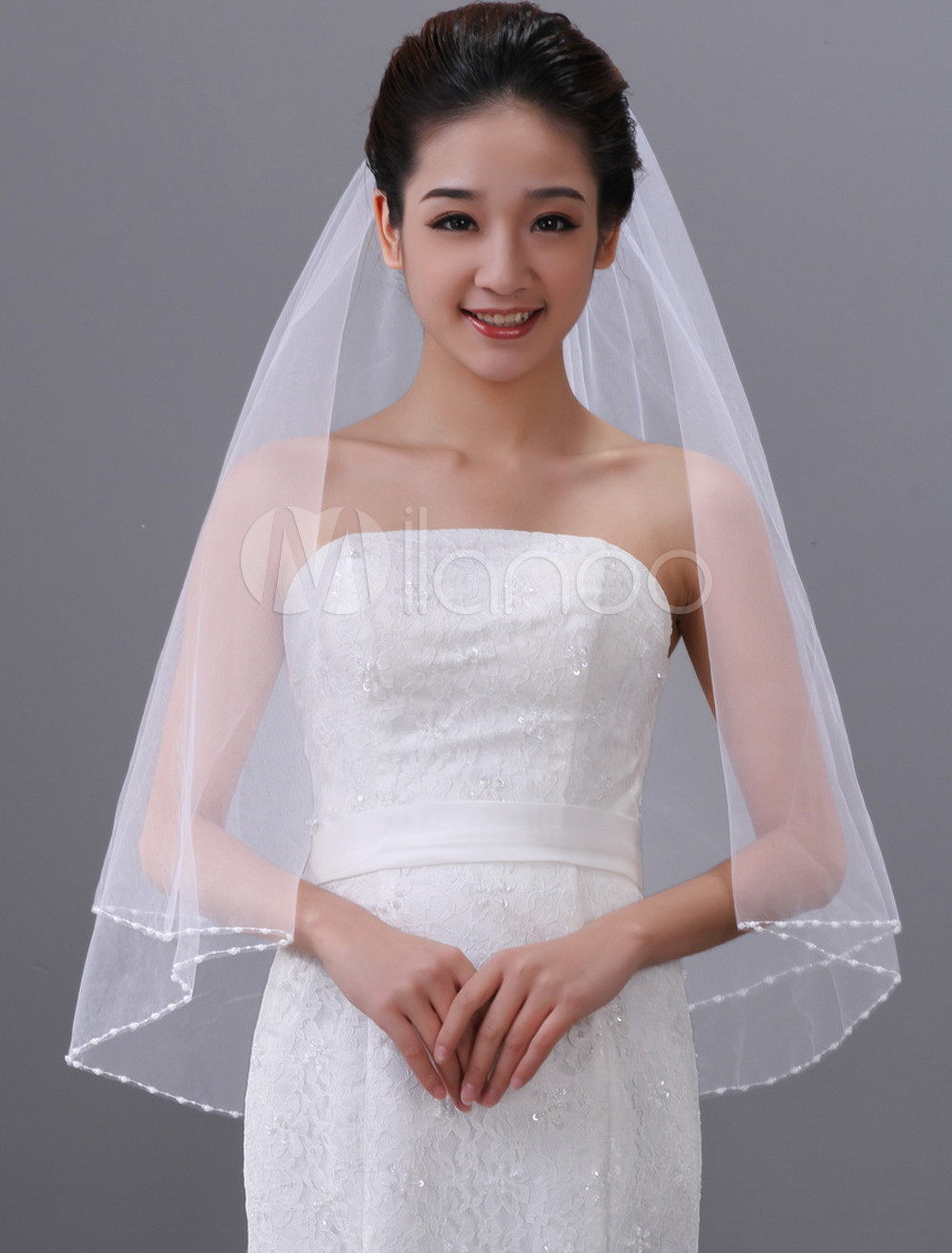 White Beading One-Tier Oval Tulle Wedding Veil