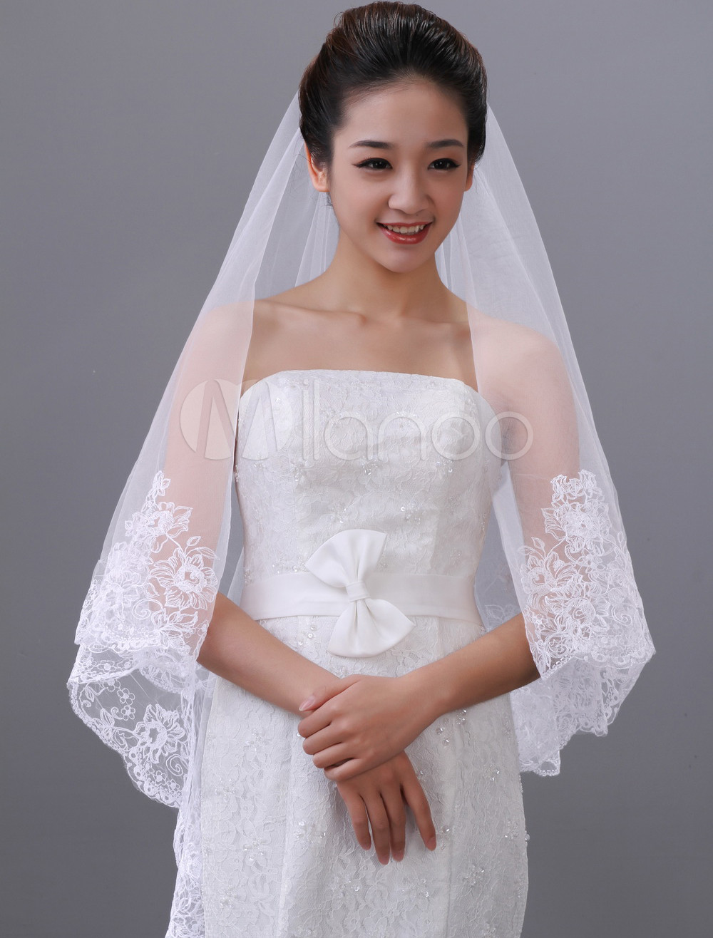 White Two-Tier Embroidery Waterfall Tulle Bridal Wedding Veil