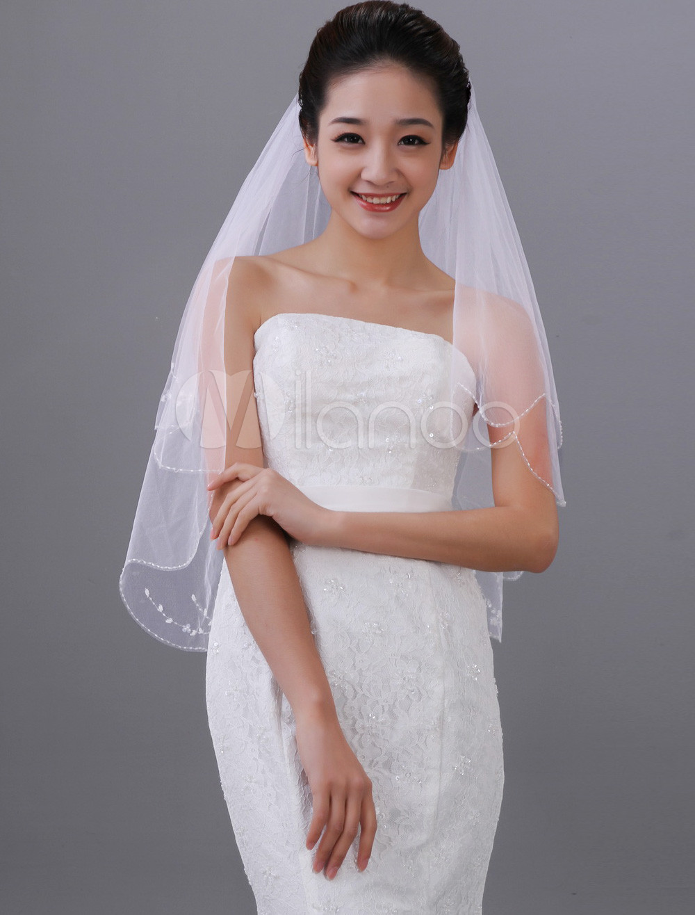 Beautiful White Two-Tier Beading Tulle Applique Wedding Veil