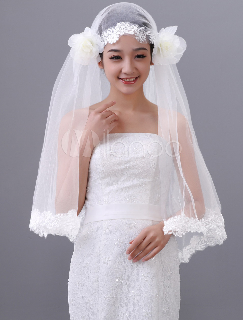 White Two-Tier Beading Tulle Bridal Wedding Veil