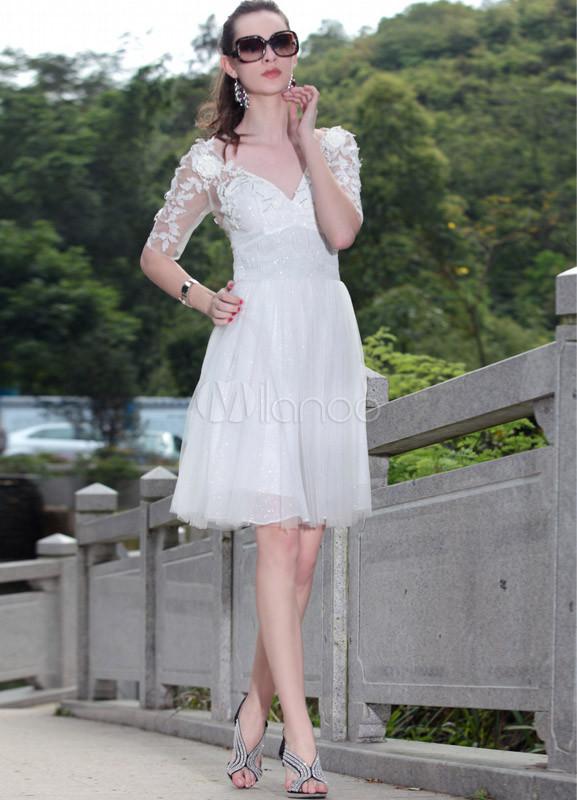 Vintage White V-Neck Lace Net Women's Cocktail Dress